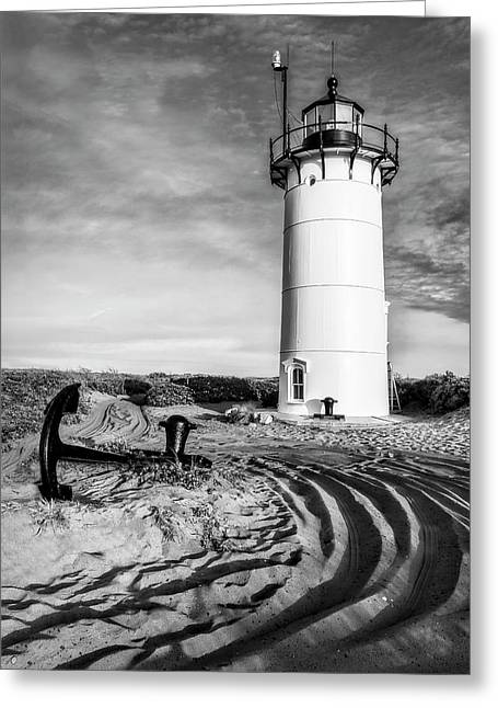 Race Point Light Provincetown Ma Bw Greeting Card by Susan Candelario