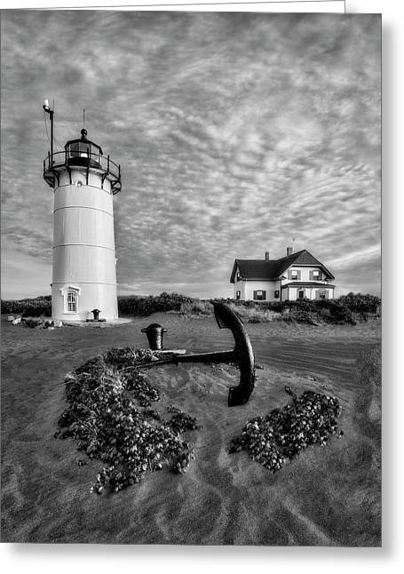 Race Point Lighthouse Bw Greeting Card by Susan Candelario