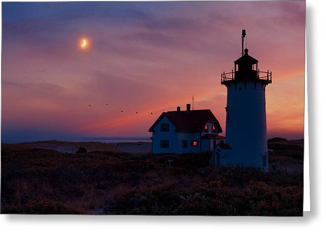 Race Point Greeting Cards - Race Point Lighthouse Standing Guard Greeting Card by Bill Wakeley