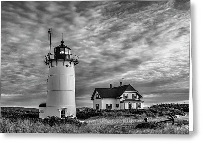 Race Point Lighthouse Sunset Bw Greeting Card by Susan Candelario