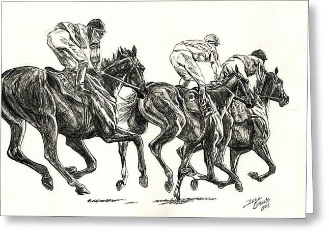 Race Horse Drawings Greeting Cards - Races Greeting Card by Jana Goode