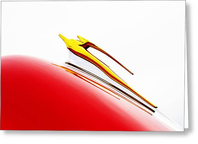 Red Chevrolet Greeting Cards - Racing Against The Wind Greeting Card by Rebecca Cozart