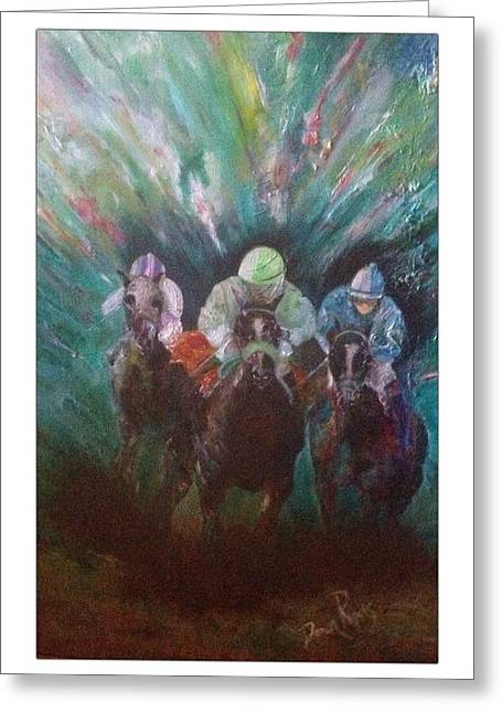 Hockey Paintings Greeting Cards - Racing At The Fairgrounds Greeting Card by Dawn Rogers