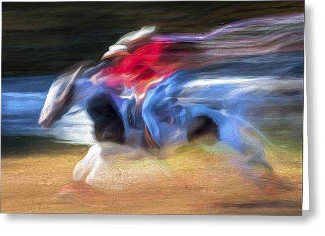 Race Horse Greeting Cards - Racing Hard Greeting Card by David Whiteside