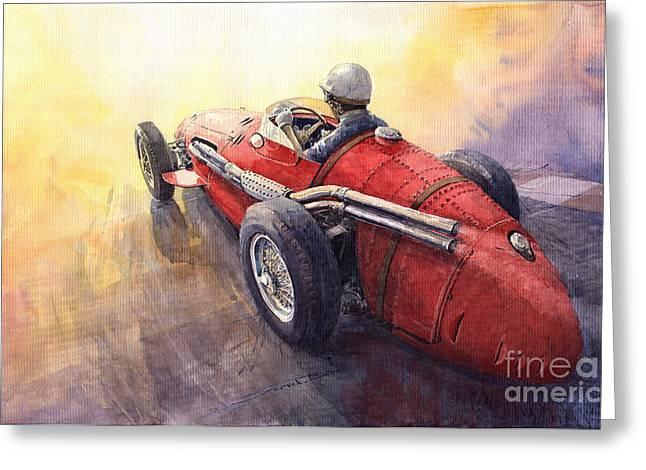 Auto Paintings Greeting Cards - Racing Light Maserati 250 F Greeting Card by Yuriy  Shevchuk