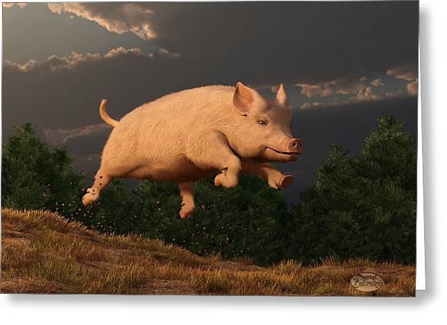 Barnyard Digital Greeting Cards - Racing Pig Greeting Card by Daniel Eskridge