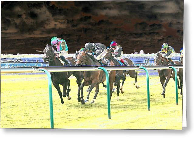 Race Horse Greeting Cards - Racing Solar Greeting Card by Sally Lloyd