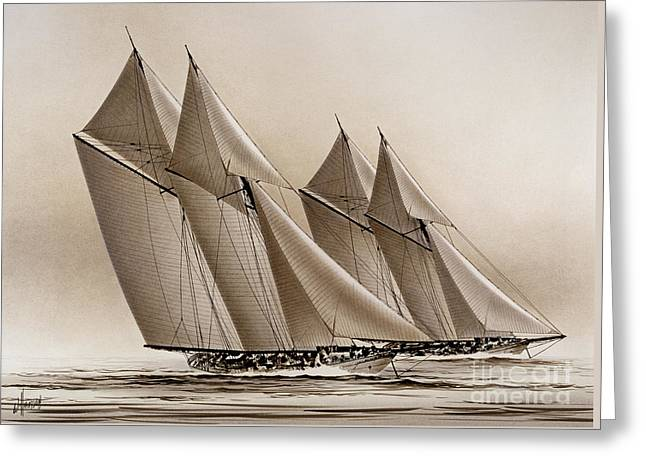 Artist James Williamson Maritime Print Greeting Cards - Racing Yachts Greeting Card by James Williamson