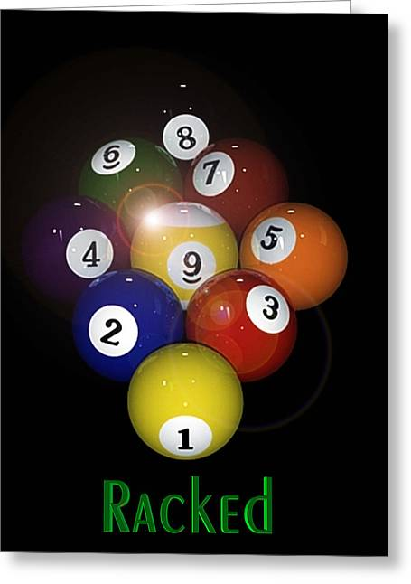 Pool Digital Art Greeting Cards - Racked Greeting Card by Draw Shots