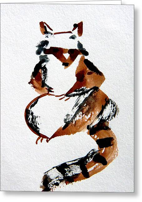 Squirrel Drawings Greeting Cards - Racoon Greeting Card by Mindy Newman