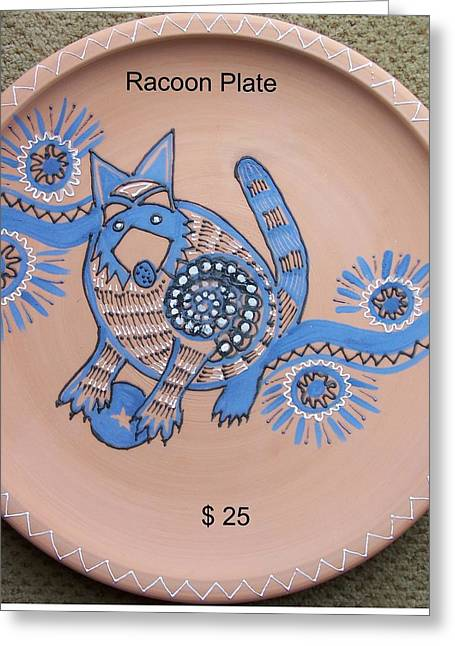 Decorative Ceramics Greeting Cards - Racoon  Greeting Card by Vijay Sharon Govender