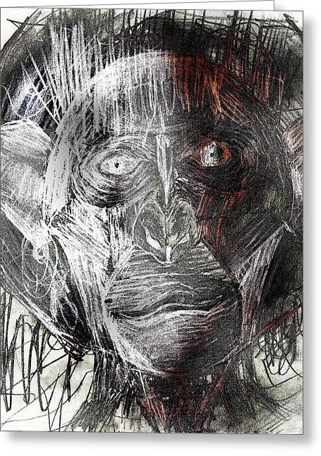 Outerspace Drawings Greeting Cards - Rad tearful space ape astronaut with space suit takes its first steps on moon pencil drawing Greeting Card by Don Lee