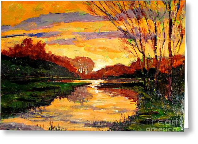Spring Greening Greeting Cards - Raders Pond Day Break SOLD Greeting Card by Charlie Spear