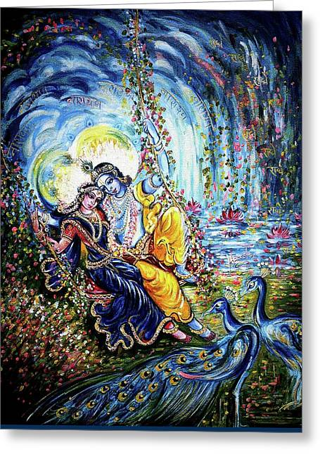 Fall Scenes Greeting Cards - Radha Krishna Jhoola Leela Greeting Card by Harsh Malik