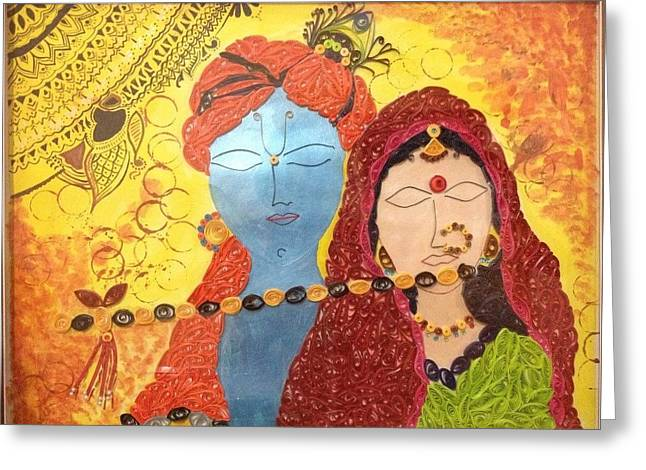 Quilling Greeting Cards - Radha Krishna Quilling Greeting Card by Khushboo Srivastava