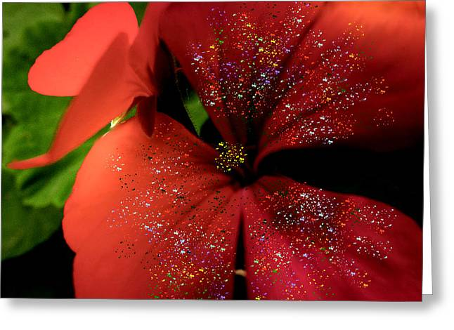 Red Geraniums Mixed Media Greeting Cards - Radiant Red Greeting Card by Kathy Franklin