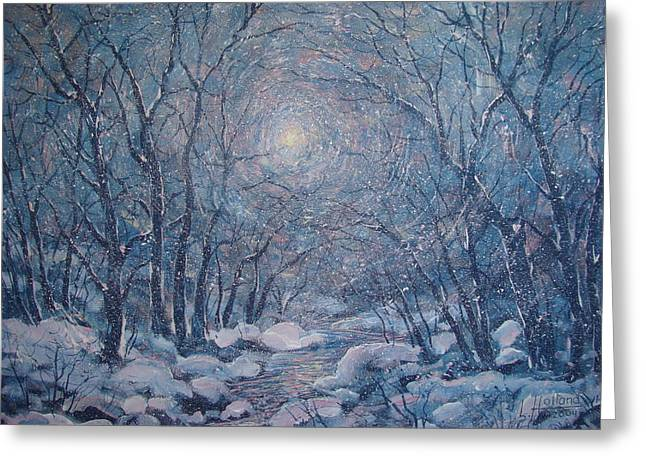Radiant Snow Scene Greeting Card by Leonard Holland