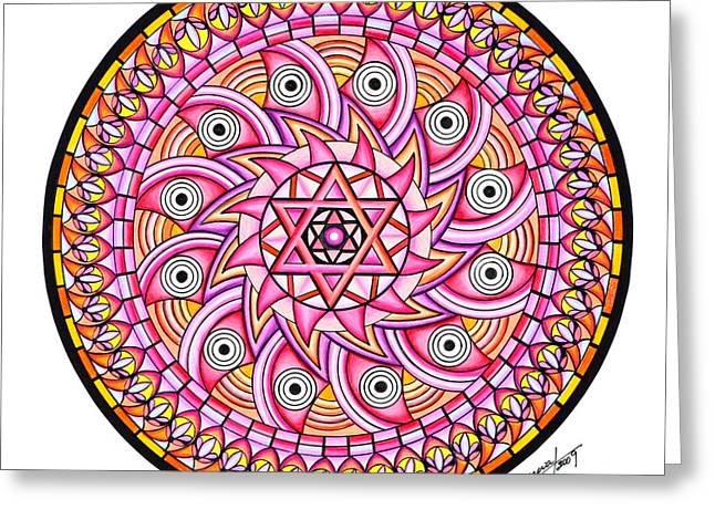 Geometrical Pastels Greeting Cards - Radiant Sun Greeting Card by Marcia Lupo