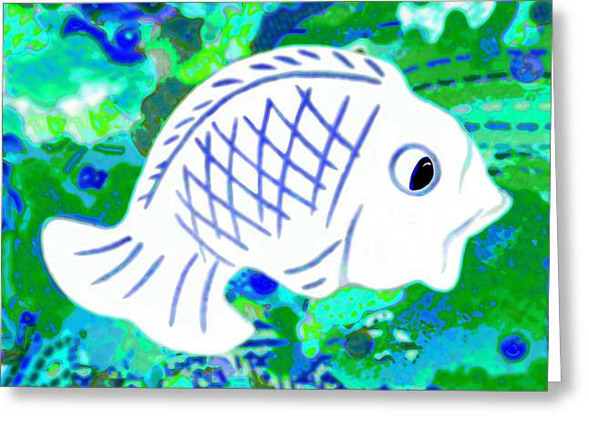 Abstract Digital Mixed Media Greeting Cards - Radiated Fish Greeting Card by Barbara Drake