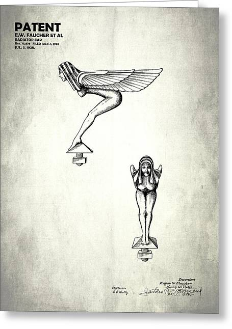 Hood Greeting Cards - Radiator Cap Patent 1928 Greeting Card by Mark Rogan