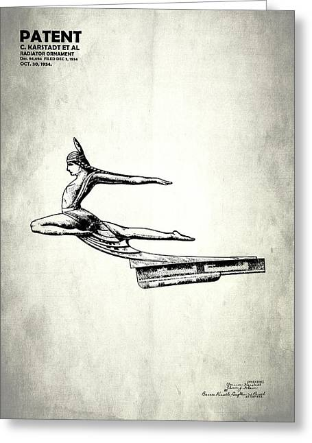 Vintage Hood Ornaments Greeting Cards - Radiator Cap Patent 1934 Greeting Card by Mark Rogan