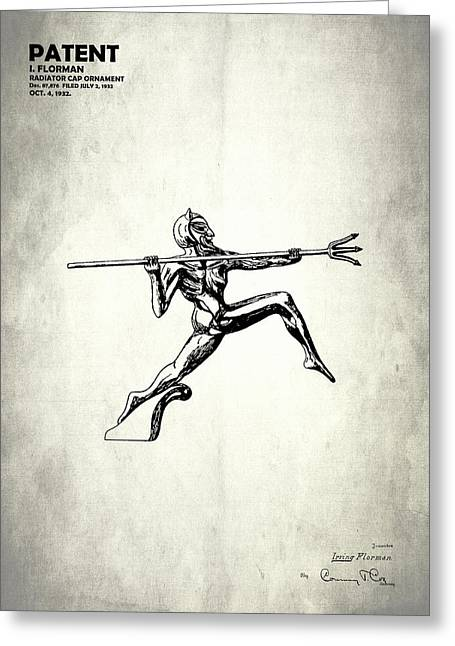 Vintage Hood Ornaments Greeting Cards - Radiator Ornament Patent 1932 Greeting Card by Mark Rogan