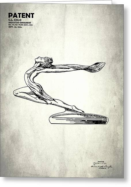 Hood Greeting Cards - Radiator Ornament Patent 1933 Greeting Card by Mark Rogan