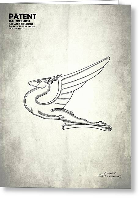 Hood Greeting Cards - Radiator Ornament Patent 1934 Greeting Card by Mark Rogan