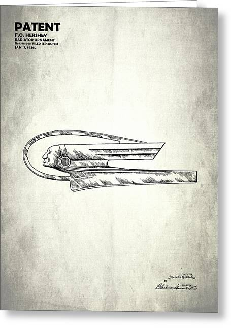 Vintage Hood Ornament Greeting Cards - Radiator Ornament Patent 1935 Greeting Card by Mark Rogan