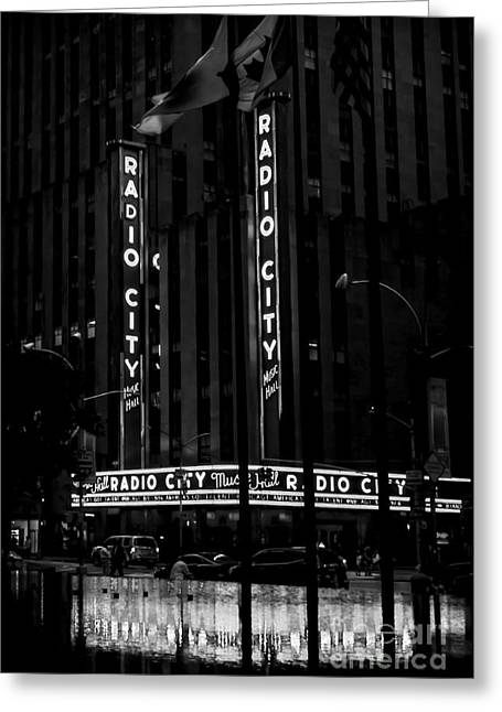 Theater Greeting Cards - Radio City Music Hall at Dawn - BW Greeting Card by James Aiken