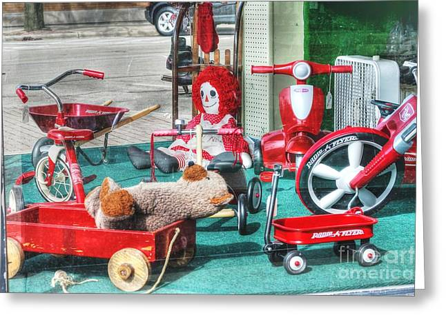 Main Street Greeting Cards - Radio Flyer Greeting Card by David Bearden