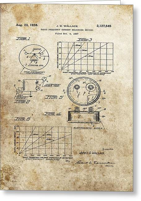 Electric Current Greeting Cards - Radio Frequency Measuring Device Patent Greeting Card by Dan Sproul