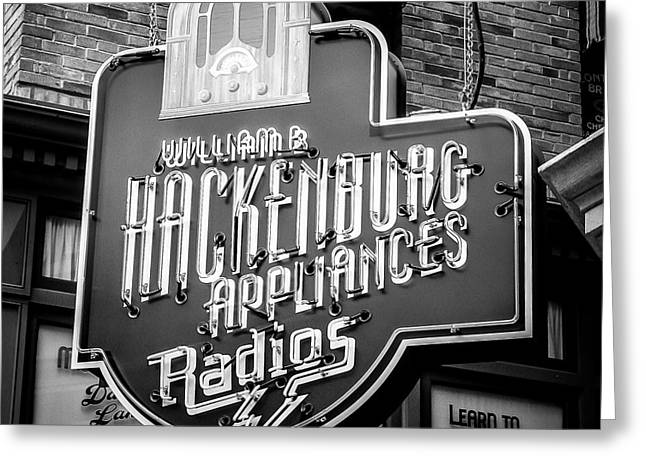 Store Fronts Greeting Cards - Radio Neon Greeting Card by Perry Webster