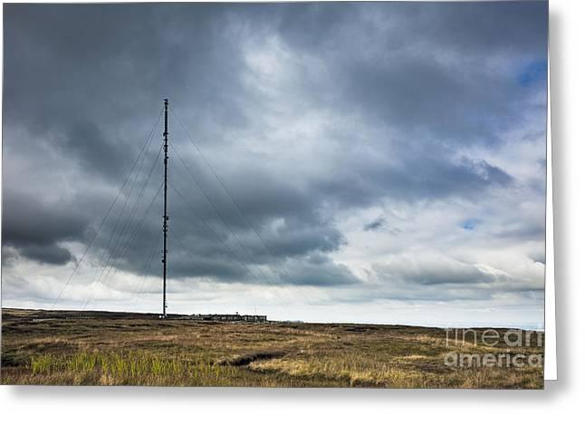 Radio Tower in Field Greeting Card by Jon Boyes