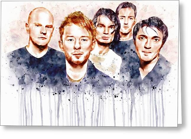 British Celebrities Greeting Cards - Radiohead Watercolor Portrait Greeting Card by Marian Voicu
