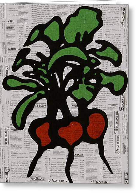 Pop Mixed Media Greeting Cards - Radishes Greeting Card by Jen Gabriele
