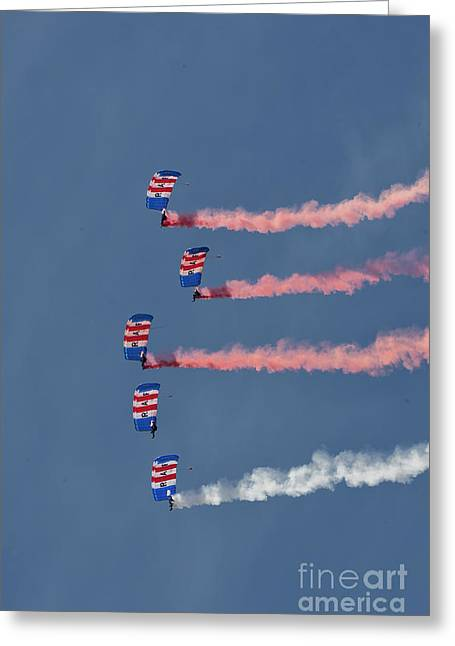 Raf Parachute Display Team Greeting Card by Stephen Smith