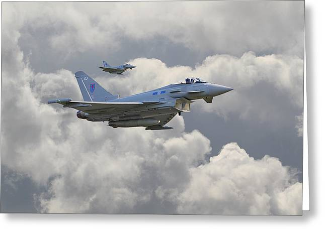 Fighter Aircraft Greeting Cards - RAF Typhoons Greeting Card by Pat Speirs