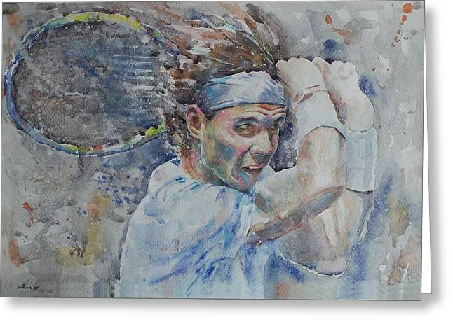 French Open Paintings Greeting Cards - Rafa Nadal - Portrait 4 Greeting Card by Baresh Kebar - Kibar