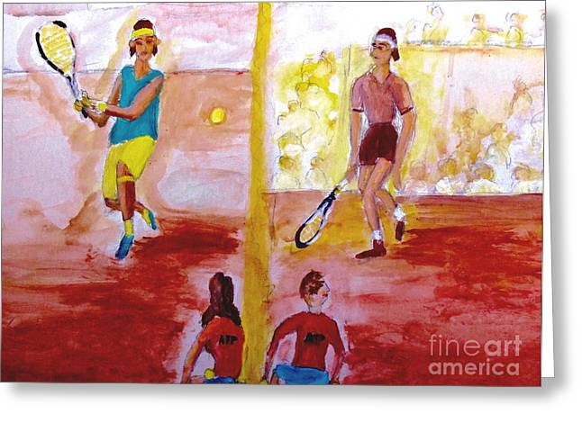 French Open Paintings Greeting Cards - Rafa versus Federer Greeting Card by Stanley Morganstein