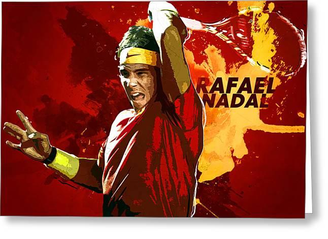 Roger Federer Greeting Cards - Rafael Nadal Greeting Card by Semih Yurdabak