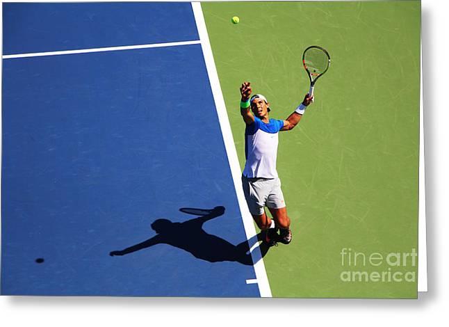 Wimbledon Photographs Greeting Cards - Rafeal Nadal Tennis Serve Greeting Card by Nishanth Gopinathan