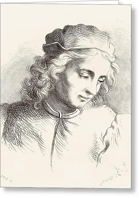 Del Drawings Greeting Cards - Raffaellino Del Garbo, 1466 Or 1476 Greeting Card by Ken Welsh