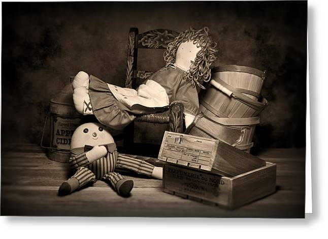 Discarded Greeting Cards - Rag Doll Greeting Card by Tom Mc Nemar