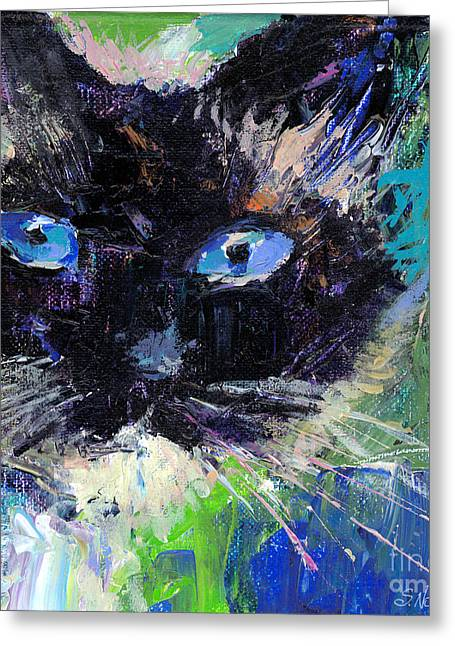 Cat Drawings Greeting Cards - Ragdoll cat painting Greeting Card by Svetlana Novikova