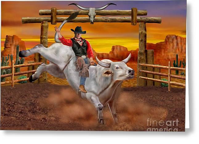 Brahma Bull Greeting Cards - Ride em Cowboy Greeting Card by Glenn Holbrook