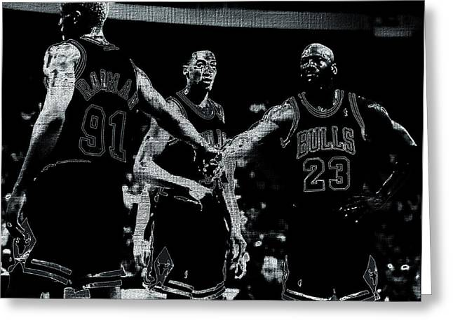 Patrick Ewing Greeting Cards - Raging Bulls Greeting Card by Brian Reaves