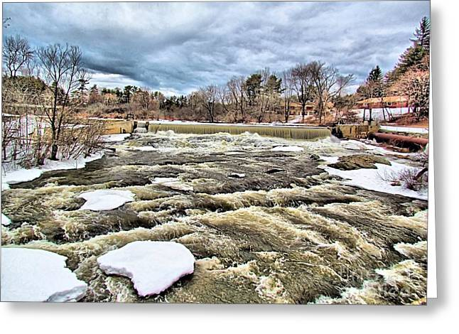 Maine Spring Greeting Cards - Raging Royal River Greeting Card by Elizabeth Dow