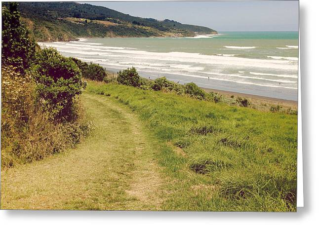 Ocean Landscape Greeting Cards - Raglan beach Greeting Card by Les Cunliffe