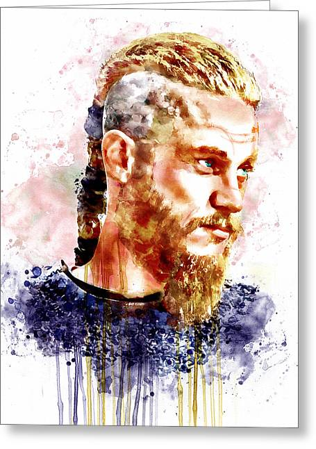 Character Portraits Greeting Cards - Ragnar Lothbrok watercolor portrait Greeting Card by Marian Voicu